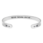 Bracelets for women inspirational gifts - Never fucking give up