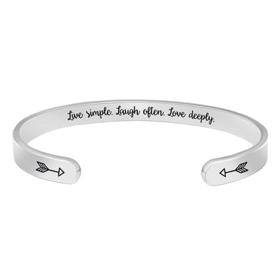Inspirational Bracelets for Women - Live simple,laugh often,love deeply
