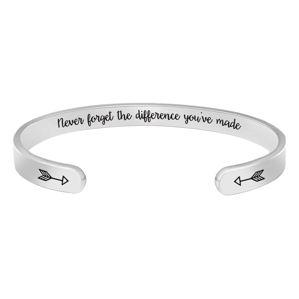Cuff bracelet - Never forget the difference you've made-Cuff Bracelets-Btysun