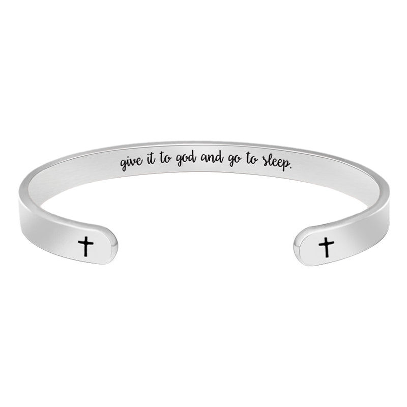 Inspirational bracelet - Give it to god and go to Sleep-Cuff Bracelets-Btysun