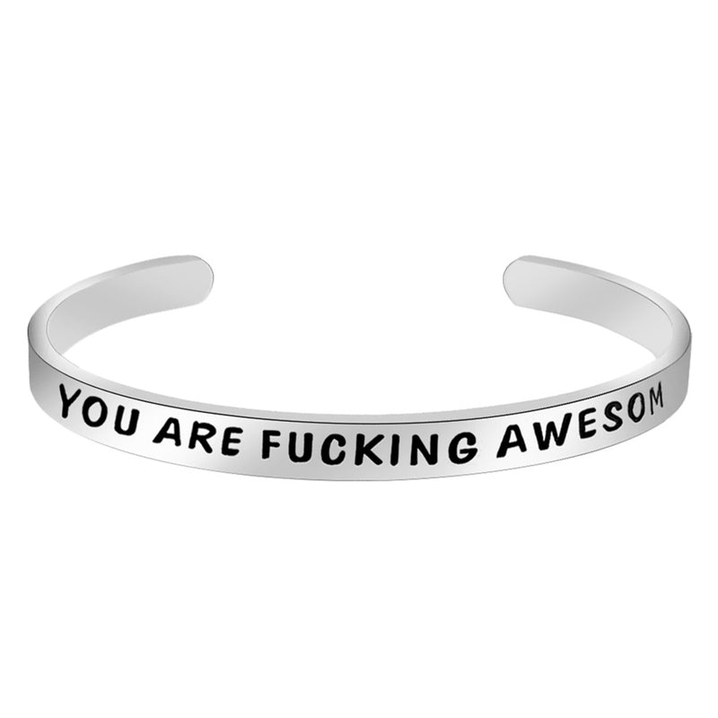 Inspirational bracelet - YOU ARE FUCKING AWESOME-Cuff Bracelets-Btysun