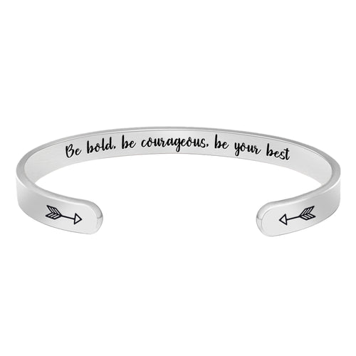 Inspirational bravelet - Be Bold, be courageous, be Your Best-Cuff Bracelets-Btysun