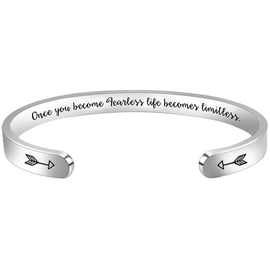 Inspirational Bracelets for Women,Men - Once Fearless,Life Becomes Limitless