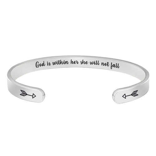 Friend bracelet - God is within her she will not fall-Cuff Bracelets-Btysun