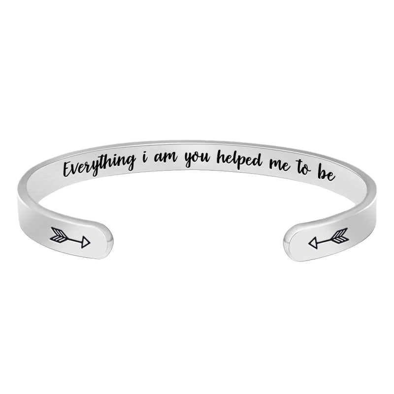 Inspirational bracelet - Everything I am you helped me to be-Cuff Bracelets-Btysun