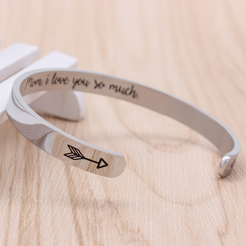 Cuff bracelet - Mom,I love you so much-Cuff Bracelets-Btysun
