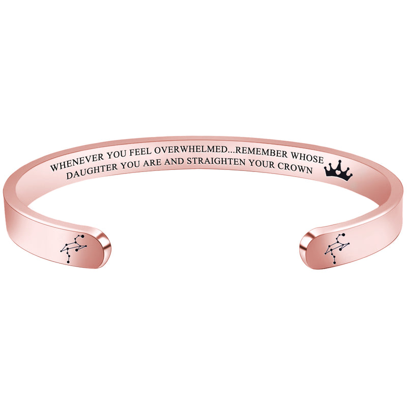 Personalized bracelet - WHENEVER YOU FEEL OVERWHELMED...REMEMBER WHOSE DAUGHTER YOU ARE... - LEO-Cuff Bracelets-Btysun