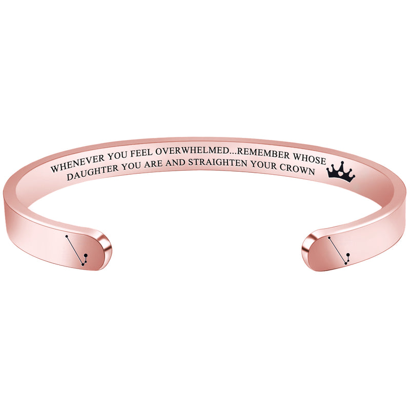 Personalized bracelet - WHENEVER YOU FEEL OVERWHELMED...REMEMBER WHOSE DAUGHTER YOU ARE...-Cuff Bracelets-Btysun
