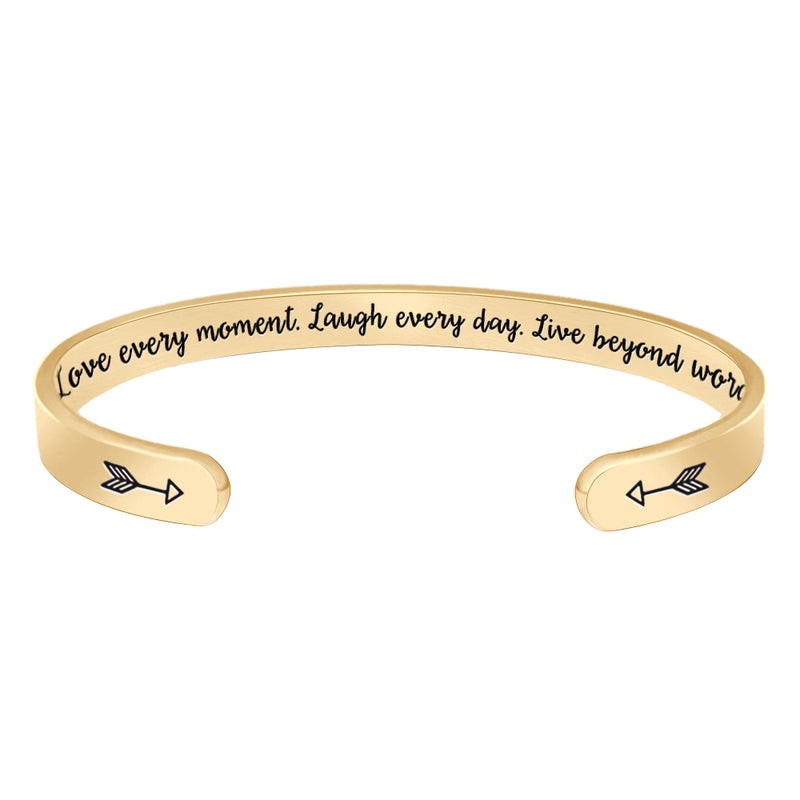 Inspirational bracelet - Love every moment. laugh every day live beyond words-Cuff Bracelets-Btysun