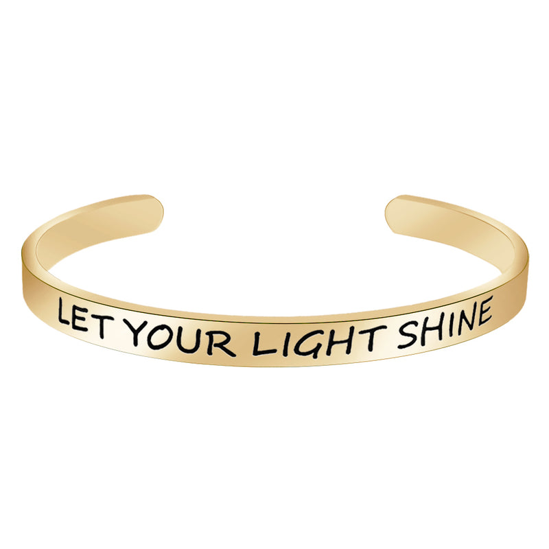 Cuff bracelet - LET YOUR LIGHT SHINE-Cuff Bracelets-Btysun