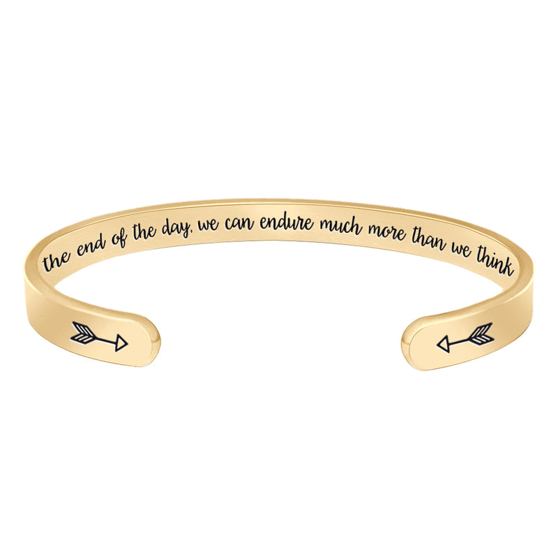 Inspirational bracelet - At the end of the day, we can endure much more than we think we can-Cuff Bracelets-Btysun