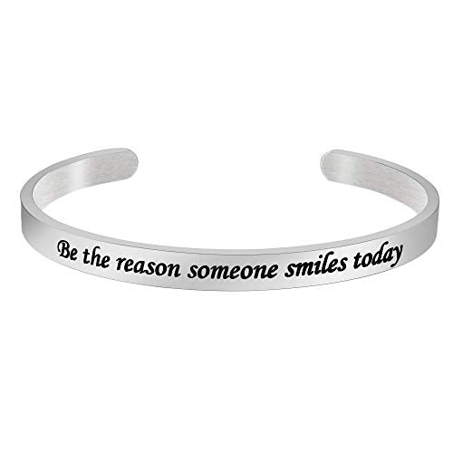 Inspirational bracelet - Be the reason someone smiles today-Cuff Bracelets-Btysun