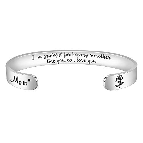 Inspirational bracelet - I'm grateful having a mother like you I like you-Cuff Bracelets-Btysun