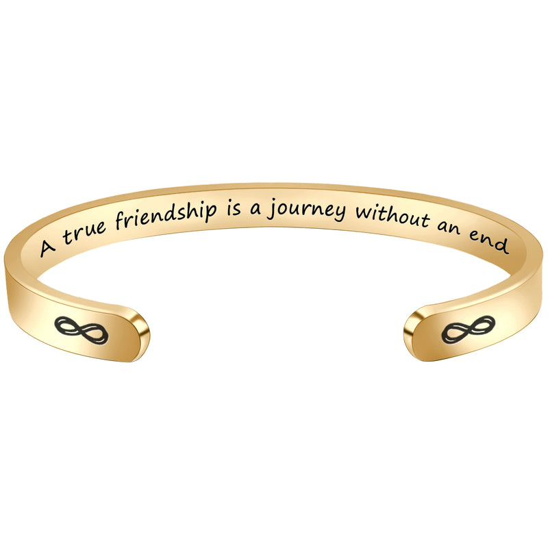 Inspirational bracelet - A true friendship is a journey without an end-Cuff Bracelets-Btysun