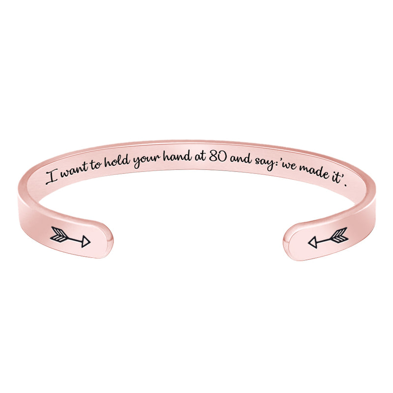 Friendship bracelet - I want to hold your hand at 80 and say we made it-Cuff Bracelets-Btysun