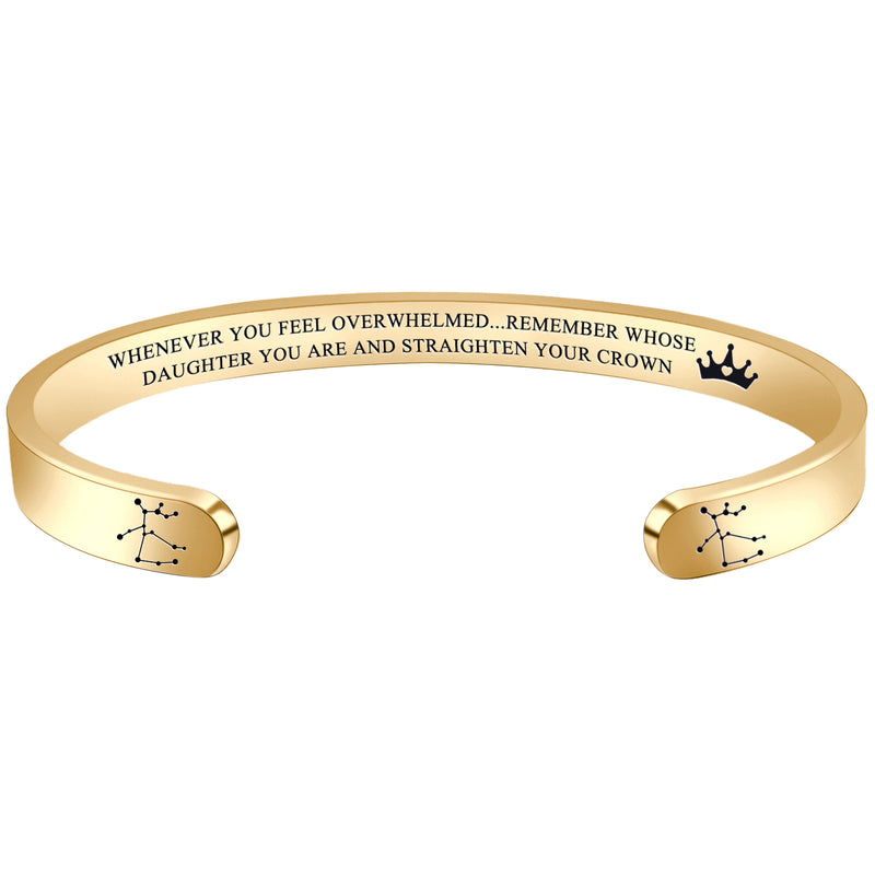 Personalized bracelet - WHENEVER YOU FEEL OVERWHELMED...REMEMBER WHOSE DAUGHTER YOU ARE...'SAGITTARIUS-Cuff Bracelets-Btysun