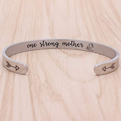 Bracelets for Women Inspirational Mothers Day for Wife Mantra Jewelry Engraved Quotes(one Strong Mother)