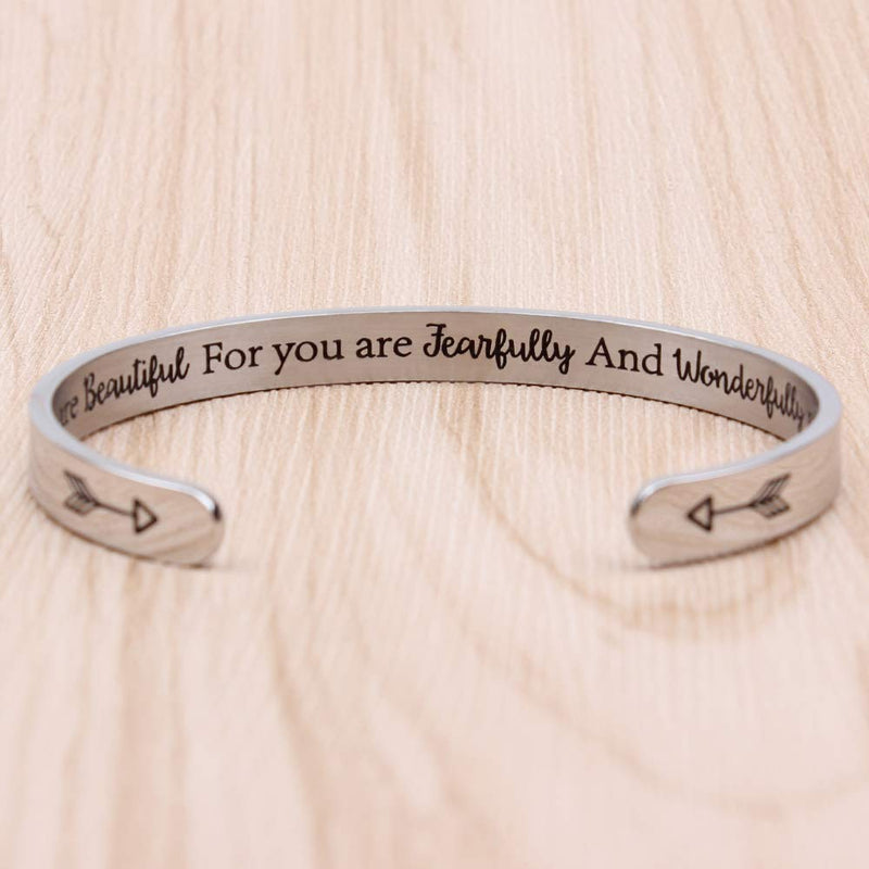 Inspirational bracelet - You are beautiful for you are jearfully and wonderfully made-Cuff Bracelets-Btysun
