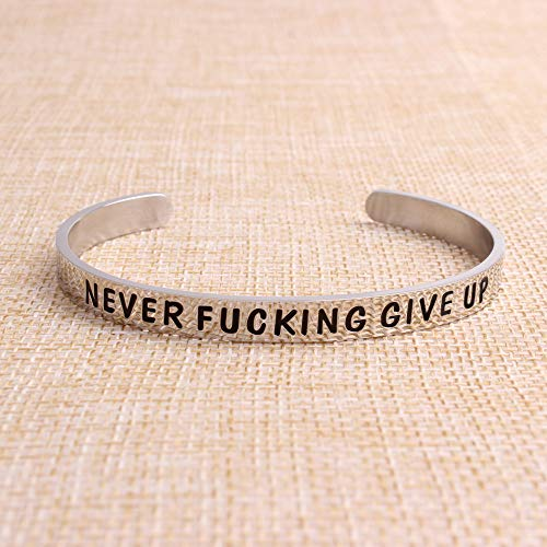 Cuff bracelet - NEVER FUCKING GIVE UP - Outside-Cuff Bracelets-Btysun