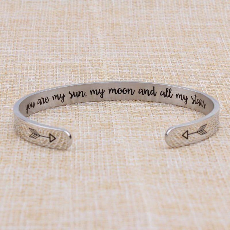 Inspirational bracelet - You are my sun,my mppn and all my stars-Cuff Bracelets-Btysun