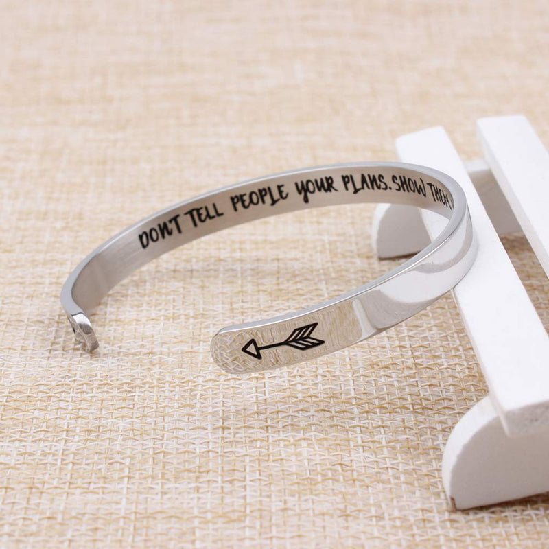 Inspirational bracelet - Don'T Tell People Your Plans.Show Them Your Results.-Cuff Bracelets-Btysun