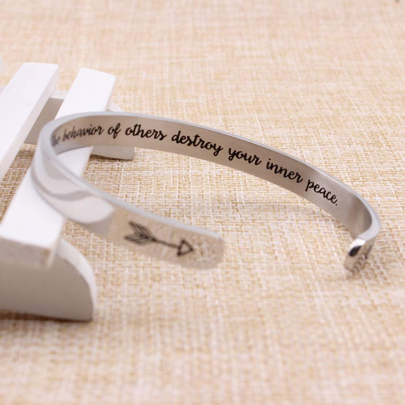 Inspirational bracelet - Do Not Let The Behavior of others destroyI your inner Peace.-Cuff Bracelets-Btysun