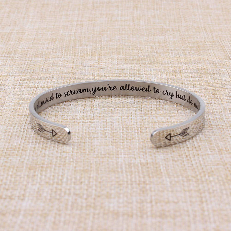 Best friend bracelet - You're allowed to scream,you're allowed to cry but do not give up-Cuff Bracelets-Btysun