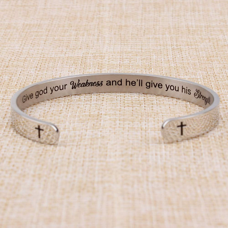 Friend bracelet - Give god your weakness and he'll give you his strength-Cuff Bracelets-Btysun