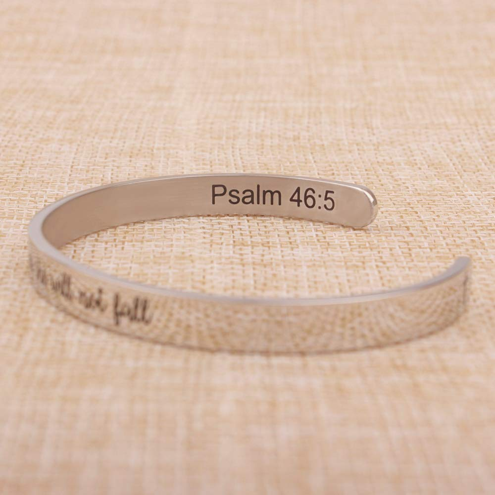 Religious Christian Bracelets for Women - God is Within her she Will not Fall