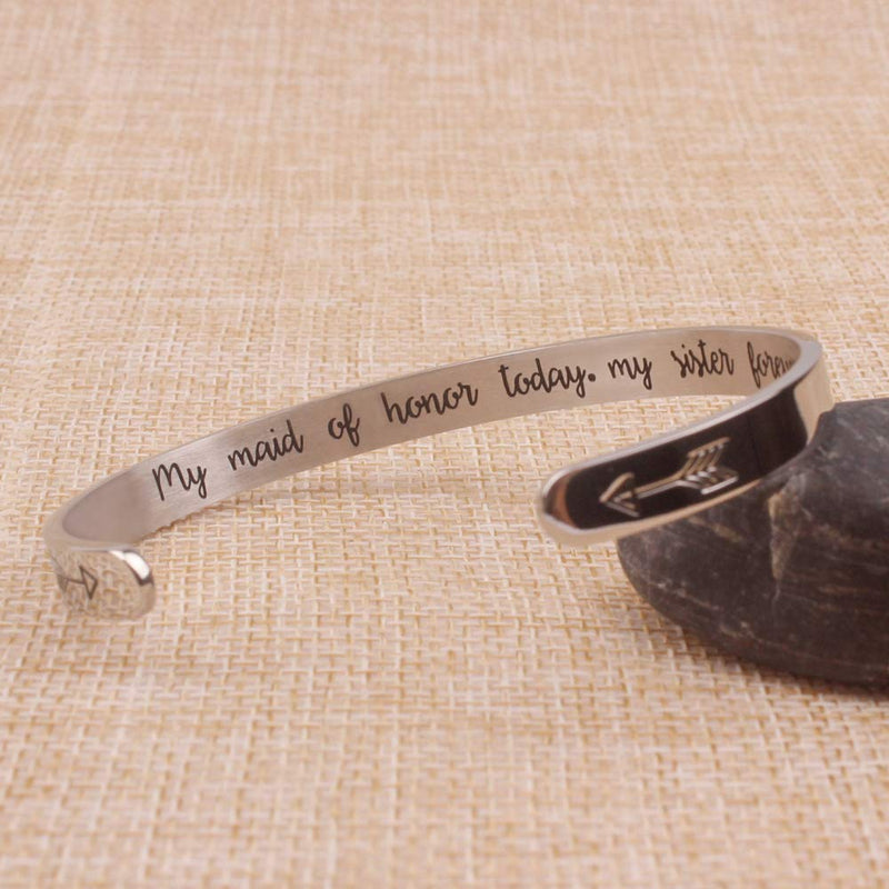 Cuff bracelet - My maid of honor today,my sister forever-Cuff Bracelets-Btysun