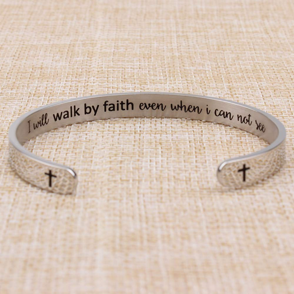 Religious Christian Bracelets for Women - I Will Walk by Faith Even When i can not See