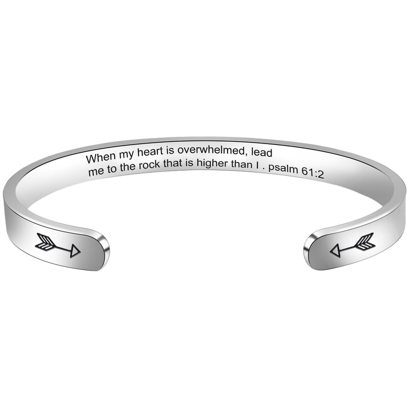Personalized bracelet - When my heart is overwhelmed,Lead me to the rock that is higer than I psalm61:2-Cuff Bracelets-Btysun