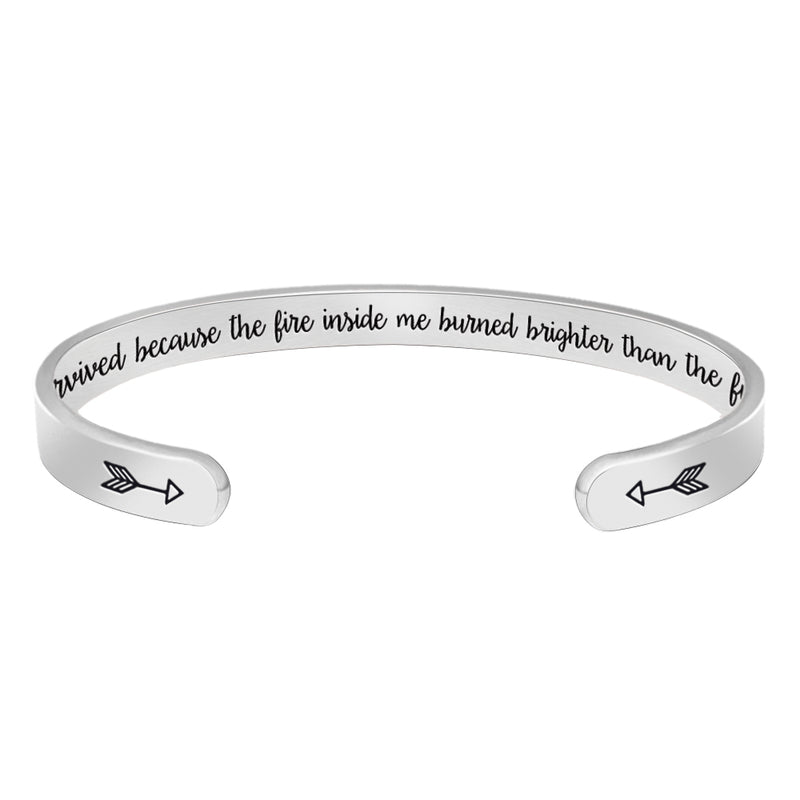 Friendship bracelet - I survived because the fire inside me burned brighter than the...-Cuff Bracelets-Btysun