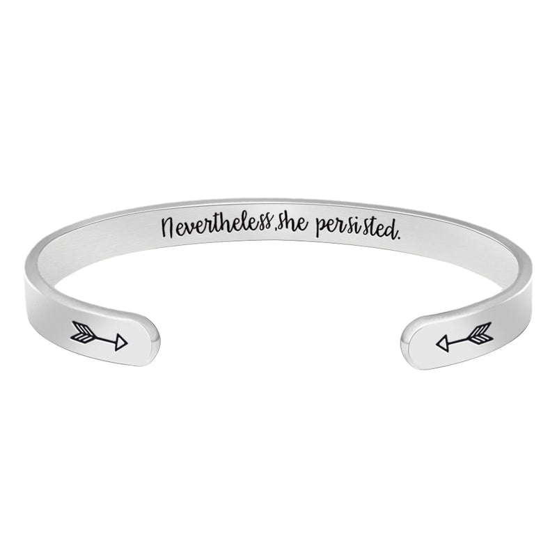 Inspirational bracelet - Nevertheless, She Persisted-Cuff Bracelets-Btysun