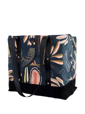 Lugger - Black Cockatoos on Navy - Reusable Shopping/Tote Bag