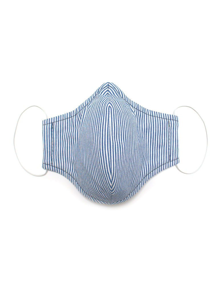 Medium Face Mask - Blue Stripe - Washable 3 Layer Mask