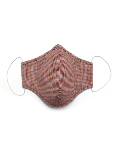 Medium Face Mask - Brown Crosshatch - Washable 3 Layer Mask