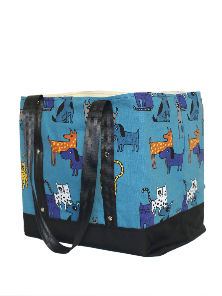 LUGGER - CATS AND DOGS - HANDMADE VEGAN REUSABLE BAG