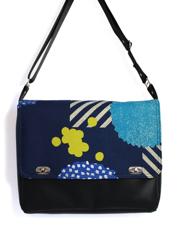 DELUXE MESSENGER BAG - ECHINO BLOSSOM NAVY - HANDMADE VEGAN BAG
