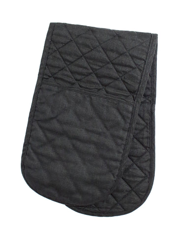 Double Oven Glove - Black Linen