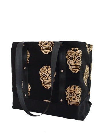 Lugger - Gold Skulls - Reusable Shopping/Tote Bag