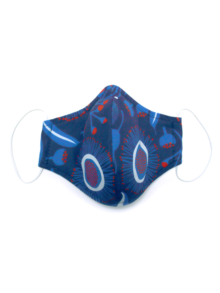 Large Face Mask - Gum Blossoms Navy - Washable 3 Layer Mask