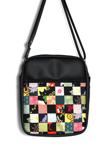 LARGE JETSETTER BAG - SQUARE CATS - HANDMADE VEGAN TRAVEL BAG