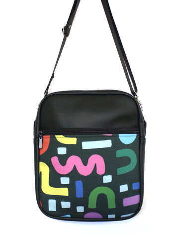 LARGE JETSETTER BAG - SQUIGGLE - HANDMADE VEGAN TRAVEL BAG