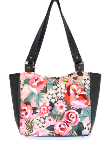 SMALL TOTE BAG - KATZ PINK FLORAL - HANDMADE VEGAN BAG