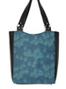 LARGE TOTE BAG - GEO RAINDROP BLUE - HANDMADE VEGAN BAG