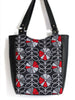 LARGE TOTE BAG - HOUNDSTOOTH POPPY - HANDMADE VEGAN BAG