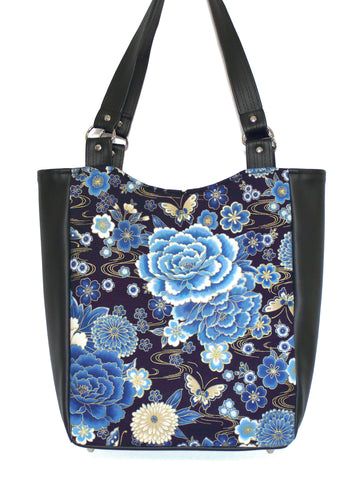 LARGE TOTE BAG - JAPANESE BUTTERFLY - HANDMADE VEGAN BAG