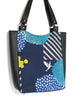 LARGE TOTE BAG - ECHINO BLOSSOM NAVY - HANDMADE VEGAN BAG