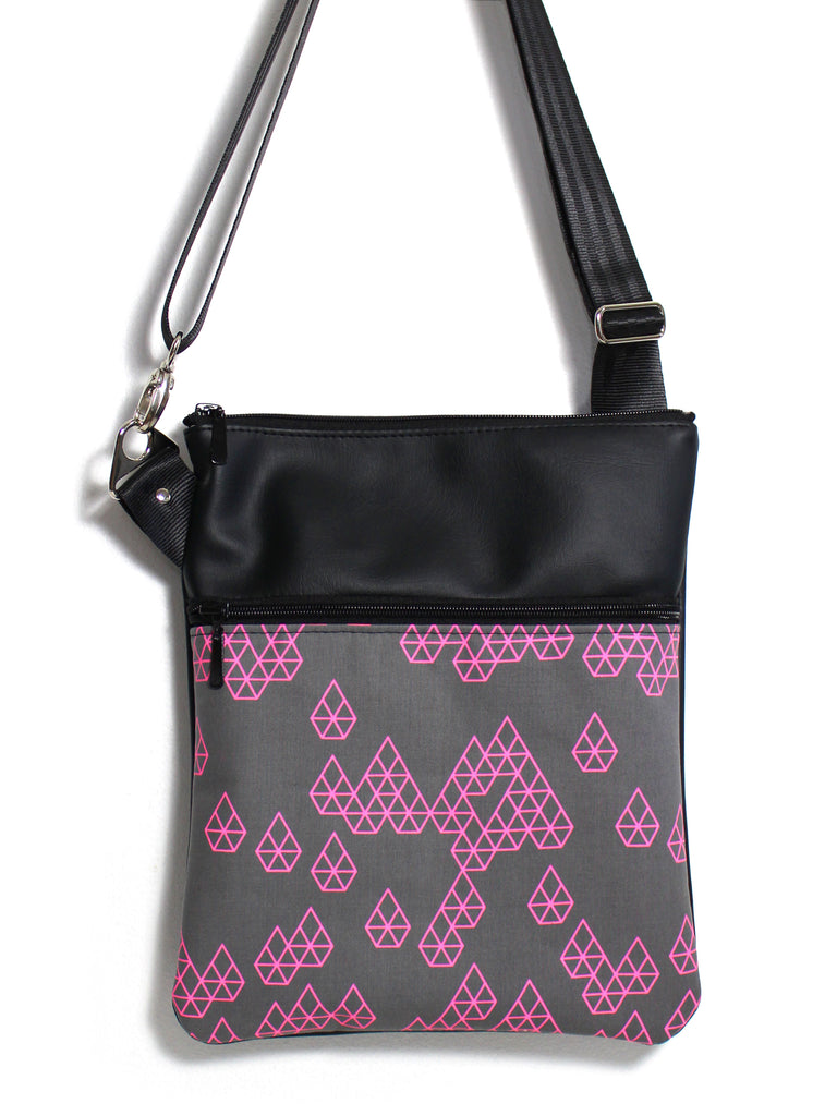 LARGE ZIP-IT - GEO RAINDROP PINK